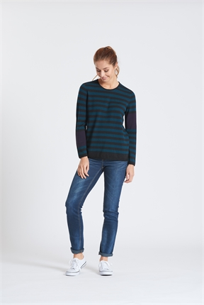 Optimum L/S Crew Neck Stripe Sweater-jumpers-Diahann Boutique