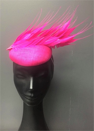 Show Pony Hot Pink Feather Fascinator-fascinator-Diahann Boutique