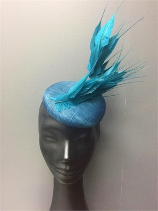 Show Pony Teal Feather Fascinator-accessories-Diahann Boutique