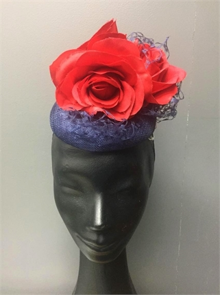 Show Pony Navy and Red Fascinator-accessories-Diahann Boutique