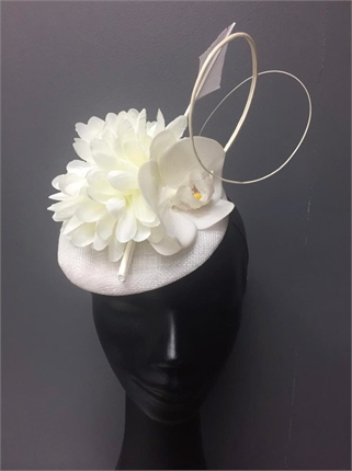 Show Pony White Fascinator-accessories-Diahann Boutique
