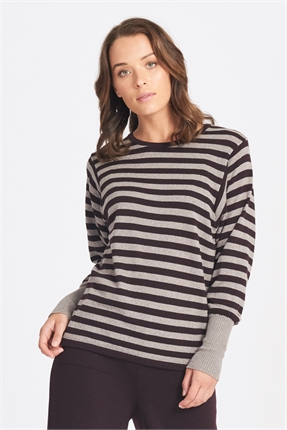 Optimum Funky Sleeve Stripe Jumper-jumpers-Diahann Boutique
