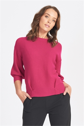 Optimum 3/4 Tulip Sleeve Pleat Front Top-jumpers-Diahann Boutique