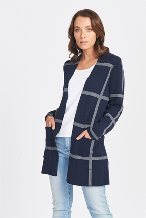 Optimum Grid Print Cardi-jackets-and-coats-Diahann Boutique