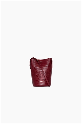 Yu Mei Phoebe Bucket Bag Tamarillo Croc-accessories-Diahann Boutique