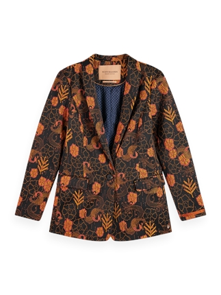 Scotch and Soda Floral Single Breast Blazer-jackets-and-coats-Diahann Boutique