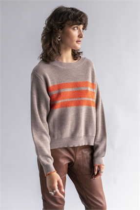 Sabatini CROP FUZZY STRIPE JUMPER-jumpers-Diahann Boutique